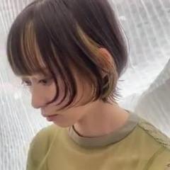 ネオウルフ モード ショート インナーカラー ヘアスタイルや髪型の写真・画像