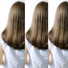 フェミニン アッシュブラウン ストリート セミロング ヘアスタイルや髪型の写真・画像