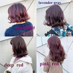 ピンクブラウン ミディアム チェリー ピンクアッシュ ヘアスタイルや髪型の写真・画像