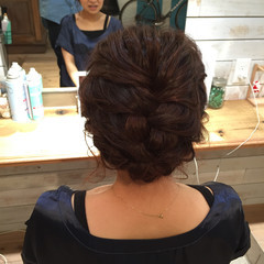 ヘアアレンジ 編み込みヘア セミロング フェミニン ヘアスタイルや髪型の写真・画像