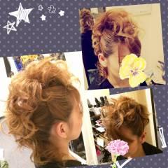 アップスタイル コンサバ 結婚式 パーマ ヘアスタイルや髪型の写真・画像