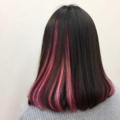 モード ミディアム ロブ ピンク ヘアスタイルや髪型の写真・画像