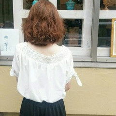 フェミニン 女子力 デジタルパーマ 小顔 ヘアスタイルや髪型の写真・画像