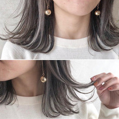 ミディアム 外国人風カラー ハイライト グレージュ ヘアスタイルや髪型の写真・画像