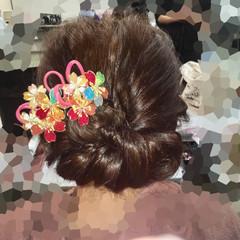 セミロング フェミニン アップスタイル ヘアアレンジ ヘアスタイルや髪型の写真・画像