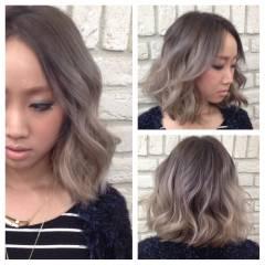 ハイトーン グラデーションカラー センターパート ミディアム ヘアスタイルや髪型の写真・画像
