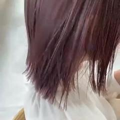 モード 切りっぱなしボブ ピンクベージュ ボブ ヘアスタイルや髪型の写真・画像