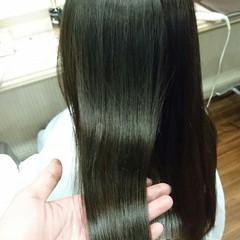 暗髪 ハイライト 縮毛矯正 フェミニン ヘアスタイルや髪型の写真・画像