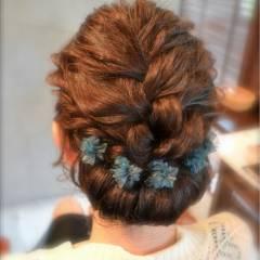 結婚式 ナチュラル 大人かわいい 三つ編み ヘアスタイルや髪型の写真・画像