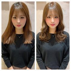 前髪 シースルーバング ミルクティーグレージュ グレージュ ヘアスタイルや髪型の写真・画像