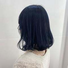 ネイビーブルー ブルーブラック ブルーアッシュ ブルージュ ヘアスタイルや髪型の写真・画像