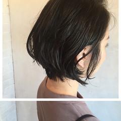 暗髪 デート ナチュラル ショートボブ ヘアスタイルや髪型の写真・画像