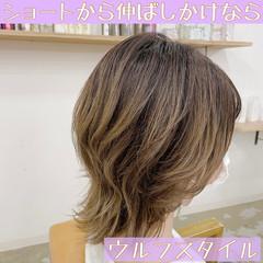 ミディアム 透明感カラー ウルフカット 極細ハイライト ヘアスタイルや髪型の写真・画像
