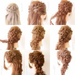 ナチュラル 三つ編み ヘアアレンジ ロング ヘアスタイルや髪型の写真・画像