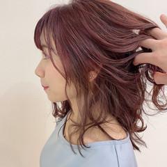 フェミニン 大人可愛い ラベンダーピンク ミディアム ヘアスタイルや髪型の写真・画像