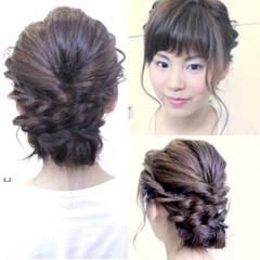 夏 ガーリー ベビーバング ミディアム ヘアスタイルや髪型の写真・画像