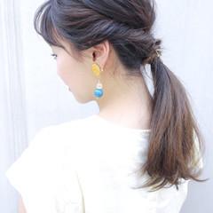 セミロング 結婚式 夏 大人かわいい ヘアスタイルや髪型の写真・画像