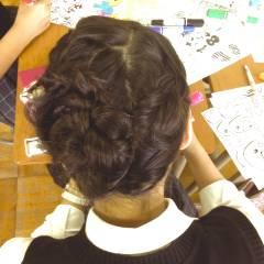 編み込み アップスタイル ヘアアレンジ ツイスト ヘアスタイルや髪型の写真・画像