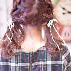 セミロング ガーリー ツインテール 簡単ヘアアレンジ ヘアスタイルや髪型の写真・画像