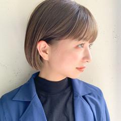 アンニュイほつれヘア ナチュラルベージュ ナチュラル ミニボブ ヘアスタイルや髪型の写真・画像