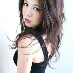 モード 渋谷系 ロング ウェットヘア ヘアスタイルや髪型の写真・画像