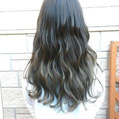 グラデーションカラー ロング 冬 ヘアアレンジ ヘアスタイルや髪型の写真・画像