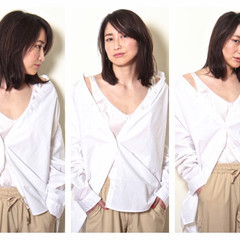 セミロング ロブ 大人かわいい 外国人風 ヘアスタイルや髪型の写真・画像
