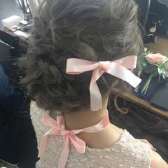 編み込み ゆるふわ ロング ヘアアレンジ ヘアスタイルや髪型の写真・画像