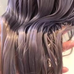 ホワイトカラー ホワイト ピンク ラベンダーピンク ヘアスタイルや髪型の写真・画像