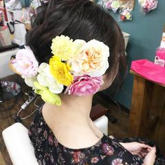 ミディアム 結婚式 フェミニン 成人式 ヘアスタイルや髪型の写真・画像