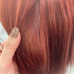 オレンジ アプリコットオレンジ ピンク ガーリー ヘアスタイルや髪型の写真・画像