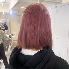 ピンク ピンクベージュ ボブ ピンクアッシュ ヘアスタイルや髪型の写真・画像
