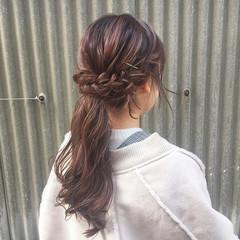 ヘアアレンジ ピンク 簡単ヘアアレンジ ロング ヘアスタイルや髪型の写真・画像