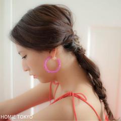 セミロング ヘアアレンジ 夏 ショート ヘアスタイルや髪型の写真・画像