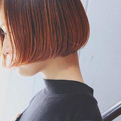 オレンジ 切りっぱなし イルミナカラー ストリート ヘアスタイルや髪型の写真・画像