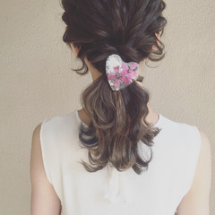 外国人風 セミロング ヘアアレンジ ゆるふわ ヘアスタイルや髪型の写真・画像