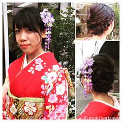 振袖 着物 成人式 セミロング ヘアスタイルや髪型の写真・画像