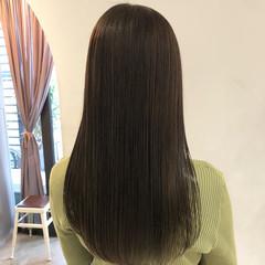 髪質改善 セミロング ストレート ナチュラル ヘアスタイルや髪型の写真・画像