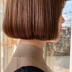 ナチュラル ボブ ショートボブ ベージュ ヘアスタイルや髪型の写真・画像