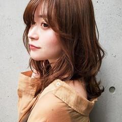 ミディアム レイヤースタイル ゆるふわパーマ デジタルパーマ ヘアスタイルや髪型の写真・画像