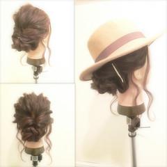 ショート 簡単ヘアアレンジ セミロング 波ウェーブ ヘアスタイルや髪型の写真・画像