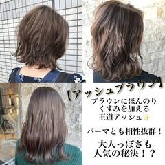レイヤーボブ ボブ ブラウン アッシュブラウン ヘアスタイルや髪型の写真・画像