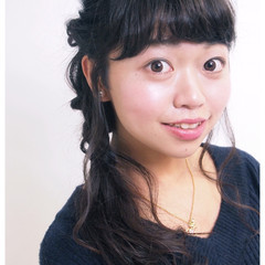 黒髪 ゆるふわ 大人かわいい 簡単ヘアアレンジ ヘアスタイルや髪型の写真・画像