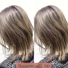 ストリート ミルクティーベージュ ミディアム ウルフカット ヘアスタイルや髪型の写真・画像