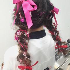 ハーフアップ セミロング ゆるふわ ショート ヘアスタイルや髪型の写真・画像