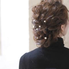 セミロング ヘアアレンジ ゆるふわ 結婚式 ヘアスタイルや髪型の写真・画像