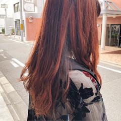 オレンジ ハイトーン セミロング モード ヘアスタイルや髪型の写真・画像