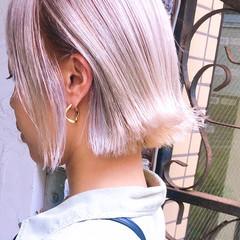 ストリート インナーカラー ラベンダーグレージュ ボブ ヘアスタイルや髪型の写真・画像