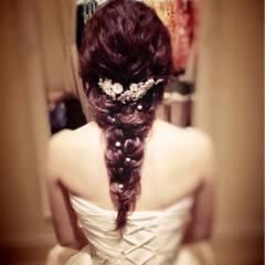 編み込み ブライダル コンサバ まとめ髪 ヘアスタイルや髪型の写真・画像