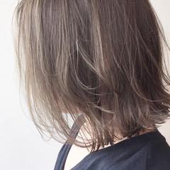 透明感 ボブ ハイライト ナチュラル ヘアスタイルや髪型の写真・画像